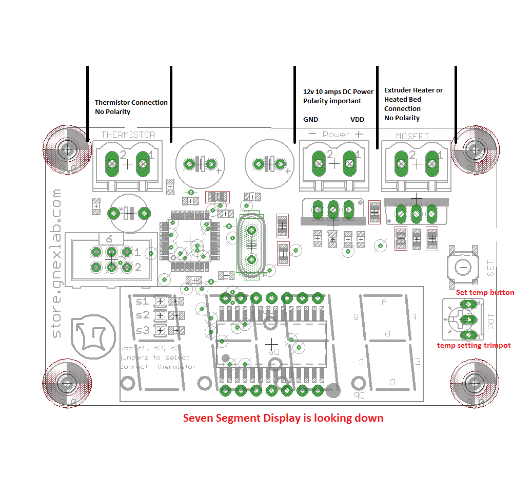 Seven Segment Thermistor One Channel Extruder Controller